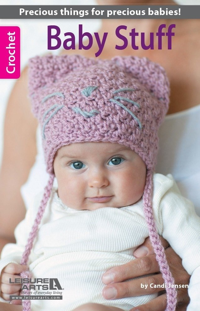 Baby Stuff.  If you are searching for cute projects to crochet for the babies in your life this book has a number of promising patterns to choose from. All the patterns are listed as EASY level patterns. These designs will crochet up quickly and are perfect for babies from 6 to 12 months.