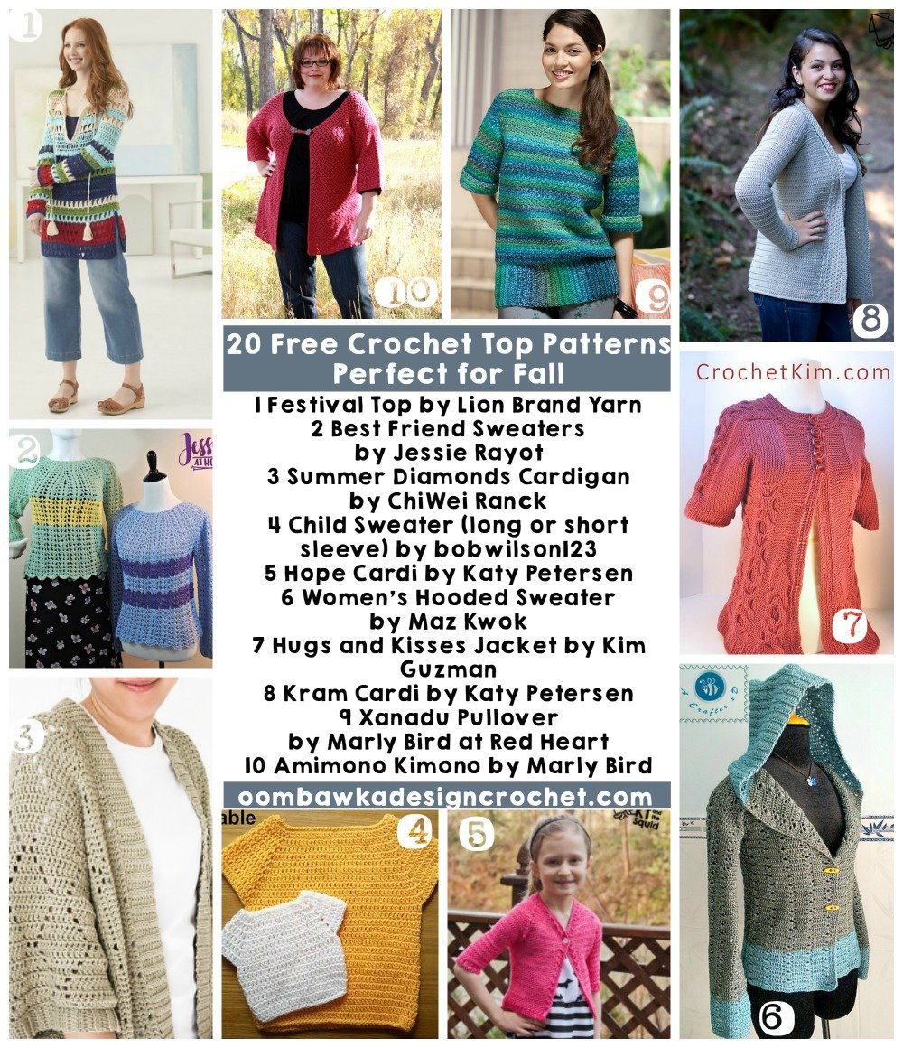 20 Free Crochet Patterns Perfect For Fall Tops • Oombawka Design Crochet