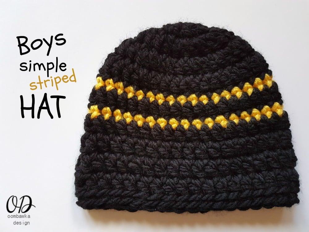 Boys Simple Striped Hat Oombawka Design Crochet