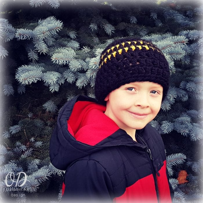 Boys Simple Striped Hat - Oombawka Design Crochet