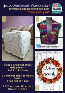 Autumn Leaves Wreath, Fall Cowl and Fancy Stool Cover - This weeks featured favorites
