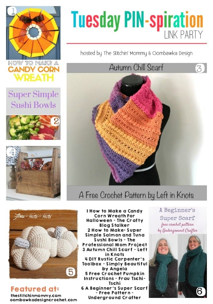 Featured Favorites Tuesday PIN-spiration Link Party October 3 Pumpkins Crochet DIY Sushi Scarves
