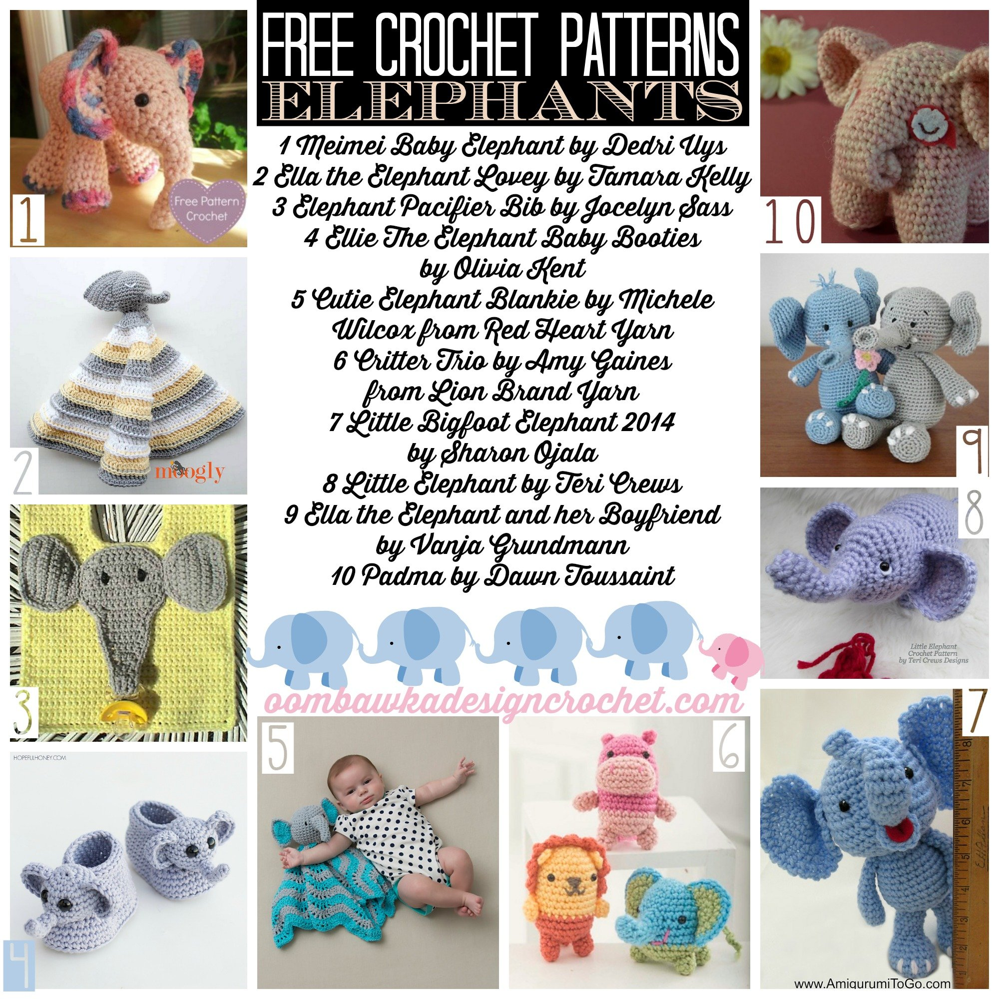20 Free Patterns for Crochet Elephants - Oombawka Design