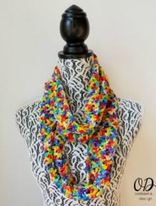 Rainbow Pebbles Infinity Scarf Free Pattern Oombawka Design 4