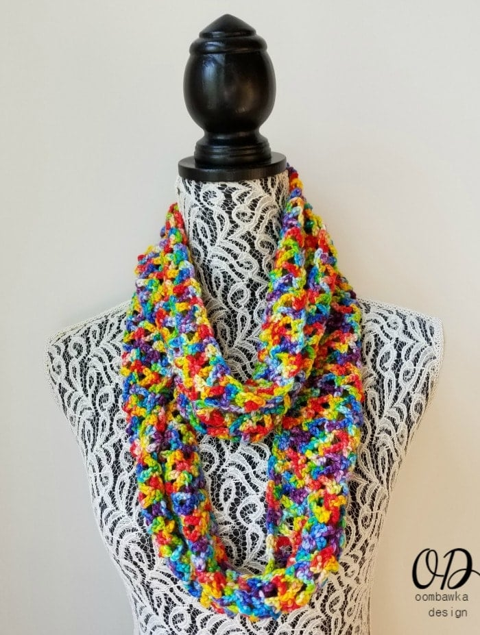 Rainbow Pebbles Infinity Scarf Free Pattern Oombawka Design Looped