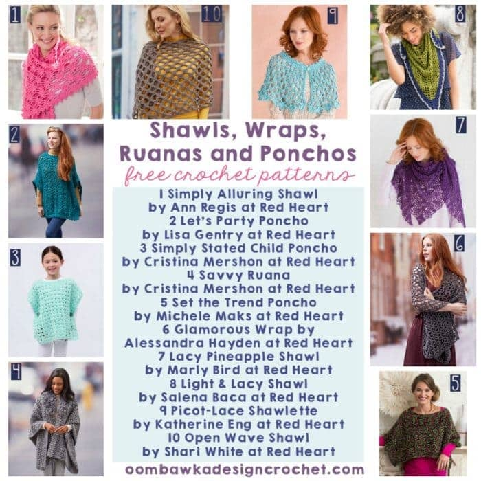 10 Free Patterns for Shawls Wraps Ruanas and Ponchos - Free Crochet Patterns - Oombawka Design Crochet
