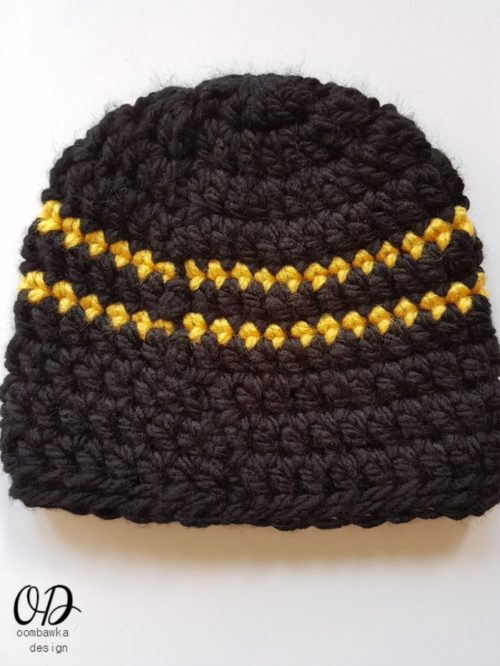 Seam Side Boys Simple Striped Hat Free Pattern