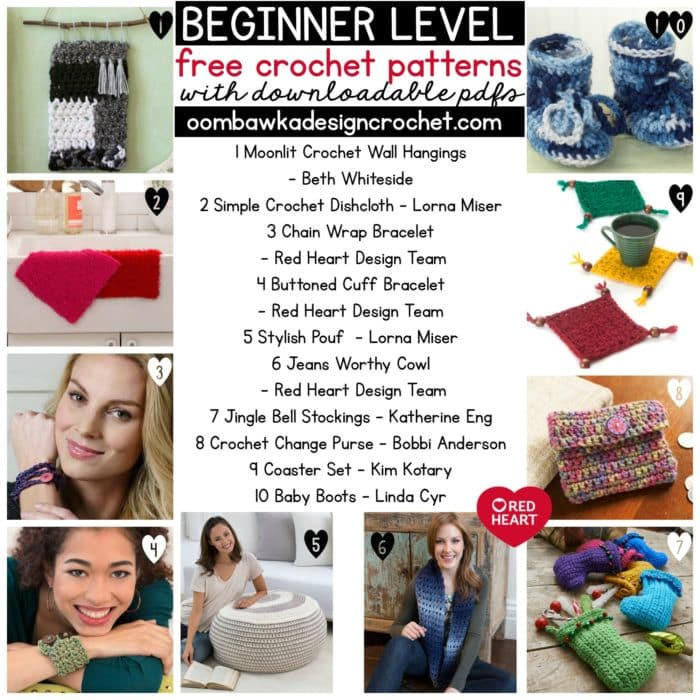 BEGINNER LEVEL Free Crochet Patterns with downloadable PDFS