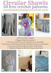 20 Free Crochet Patterns For Circular Shawls. Shawl Pattern Roundup. Oombawka Design Crochet
