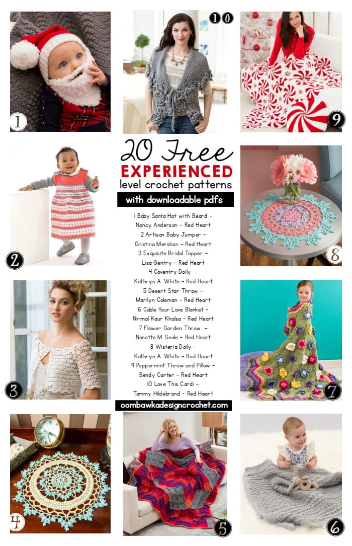 20 Free EXPERIENCED Level Crochet Patterns with downloadable PDFS