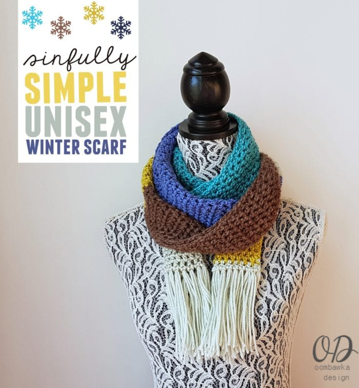 Sinfully Simple Unisex Winter Scarf Cover - Oombawka Design - Free Pattern