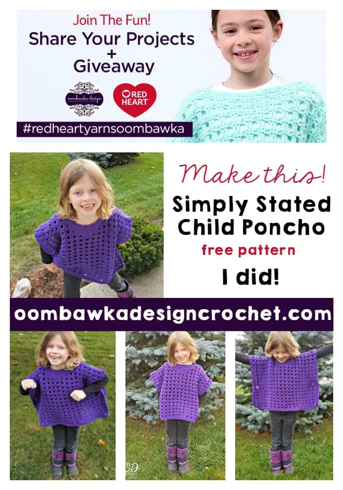 Simply Stated Child Poncho Design - A Free Crochet Pattern from Red Heart Yarns. Make it! and Join the Fun! Share Your Projects with us from November 1 to December 10, 2016 and be entered in our Giveaways! #redheartyarnsoombawka