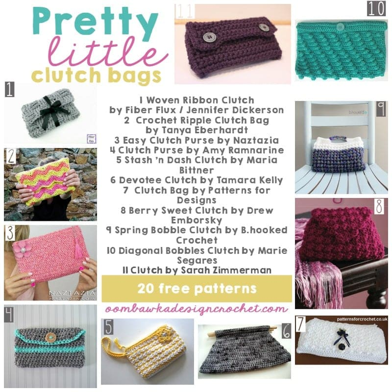 20 Free Patterns - Pretty Little Clutches - Oombawka Design Crochet
