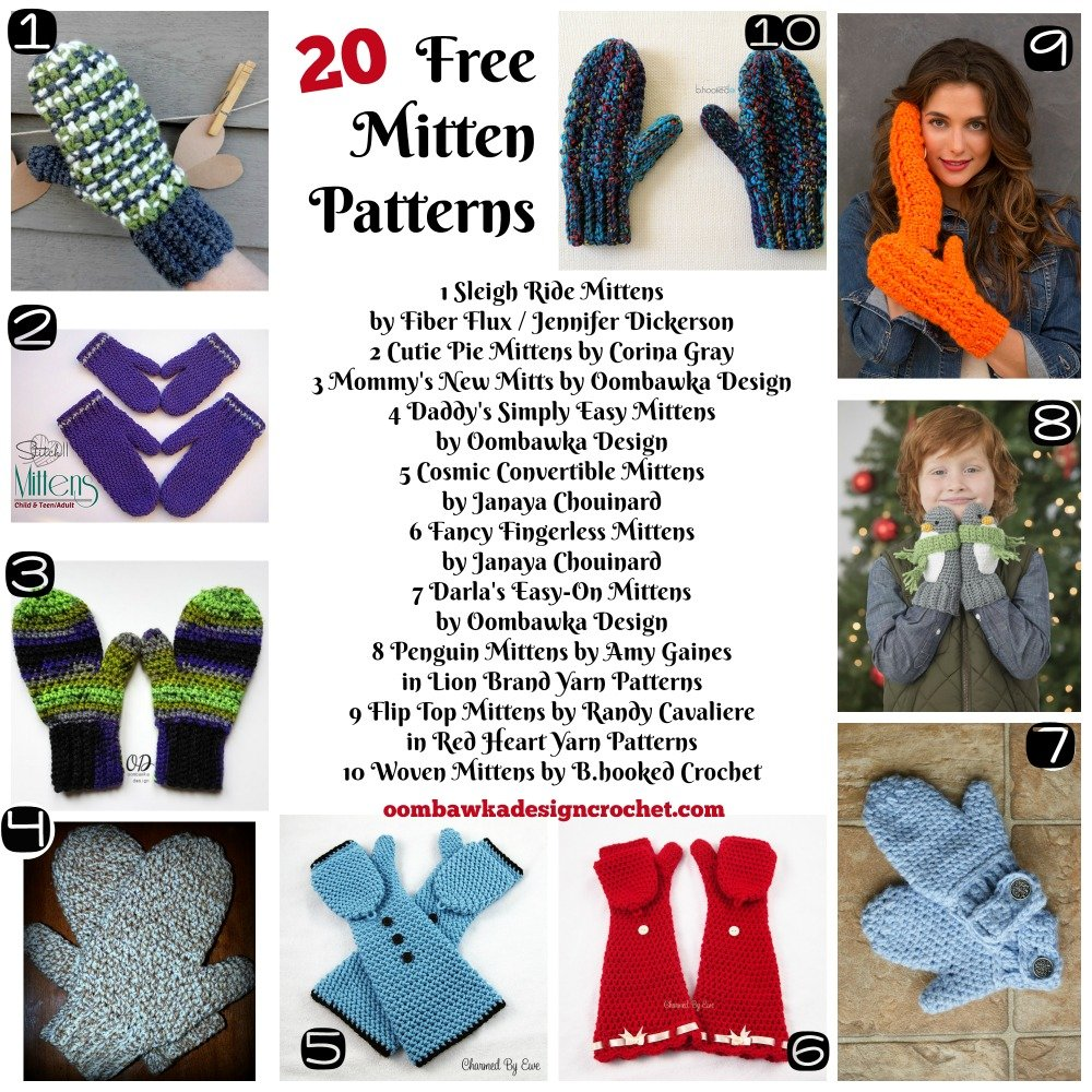 20 Free Patterns for Mittens • Oombawka Design Crochet