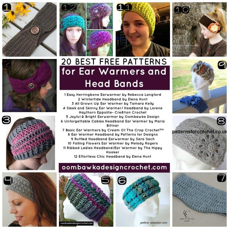 20 BEST Free Patterns for Ear Warmers and Head Bands - Collection by Oombawka Design