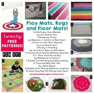 20 Free Patterns for Play Mats Rugs and Floor Mats. Oombawka Design.