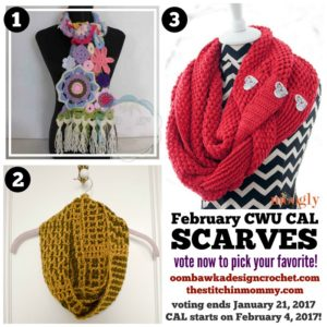 It's Time! To Choose Your Own 2017 CAL Adventure and Vote for February's Scarf #CALOFTHEMONTH2017 Pattern Today! Which one will you pick?