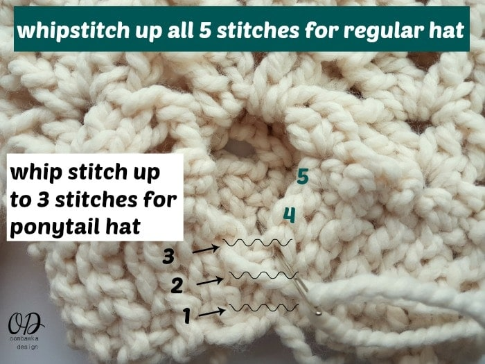 Ponytail or Knot Hat Seam 1