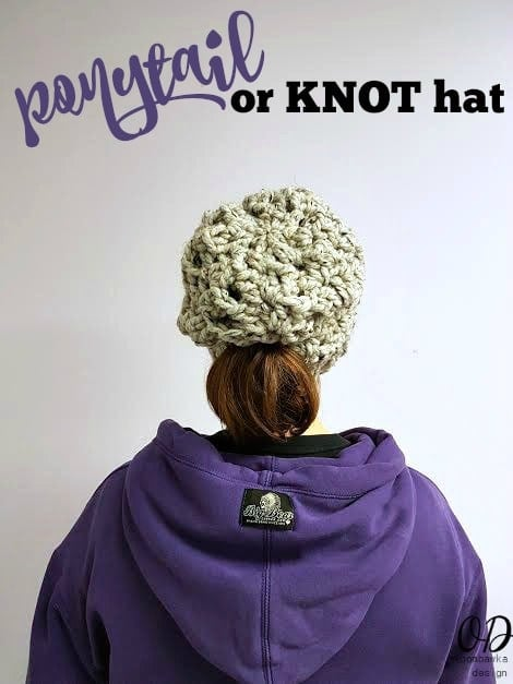Ponytail or Knot Hat Free Pattern Oombawka Design With Beanie and Slouchy AND regular hat options!