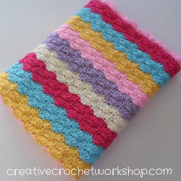 Rainbow Shell Baby Blanket