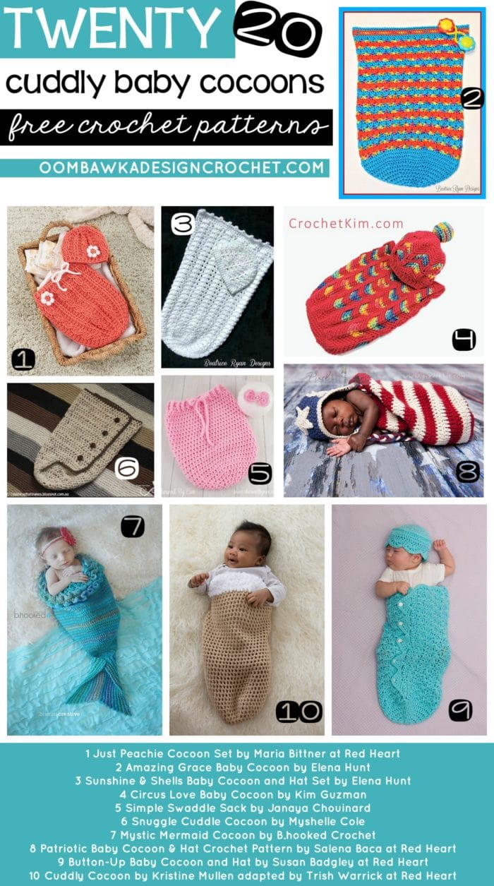 20 Cuddly Baby Cocoons Free Crochet Patterns RoundUp from OombawkaDesignCrochet