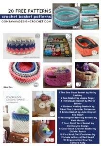 20 Free Patterns for Crochet Basket - Collection by Oombawka Design