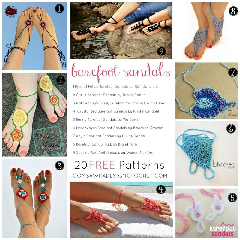20 free patterns for BAREFOOT SANDALS