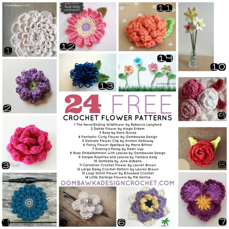 2 Dozen Crochet Flower Patterns Oombawka Design Crochet