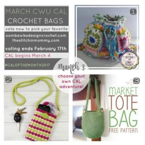 #CALOFTHEMONTH2017 TIME TO VOTE FOR MARCH CAL CROCHET BAGS
