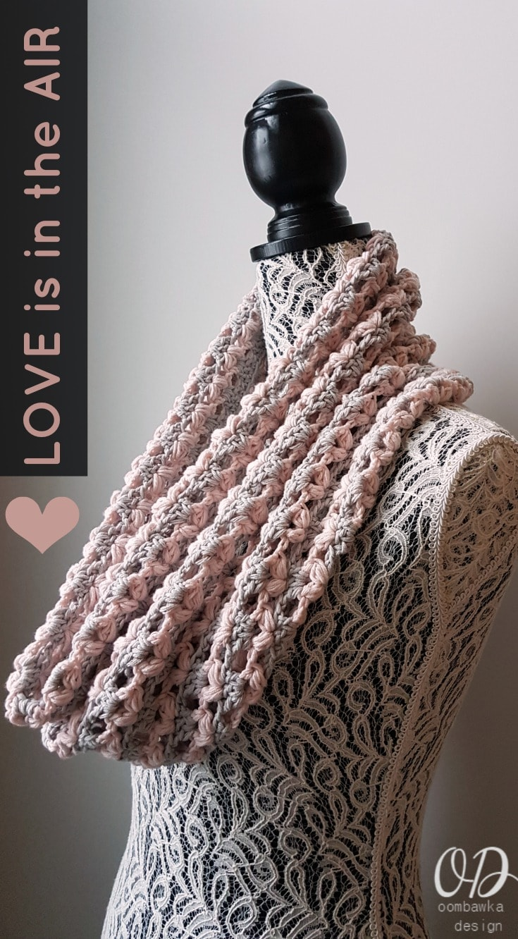Crocheted with a pretty heart stitch this soft and trendy cowl is perfect to wear when Love is in the Air this Valentine's Day!