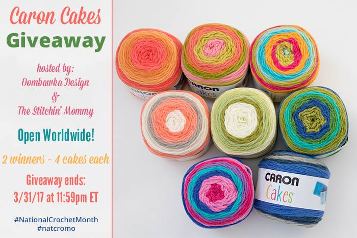 Enter to win Caron Cakes from @stitchin_mommy & @oombawkadesign! Worldwide #giveaway #NationalCrochetMonth #natcromo