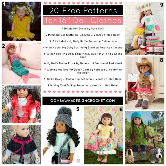 20 FREE PATTERNS FOR 18 DOLL CLOTHES