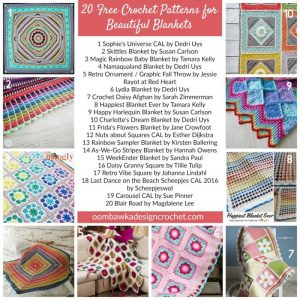 20 Free Crochet Patterns for Beautiful Blankets. Oombawka Design Crochet.