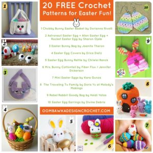20 Free Crochet Patterns for Easter Fun! Easter Pattern Roundup. Oombawka Design Crochet.
