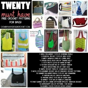 20 Must Have Free Crochet Patterns for Bags. Oombawka Design.