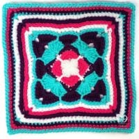 All Aflutter 12″ Afghan Square with Chart!