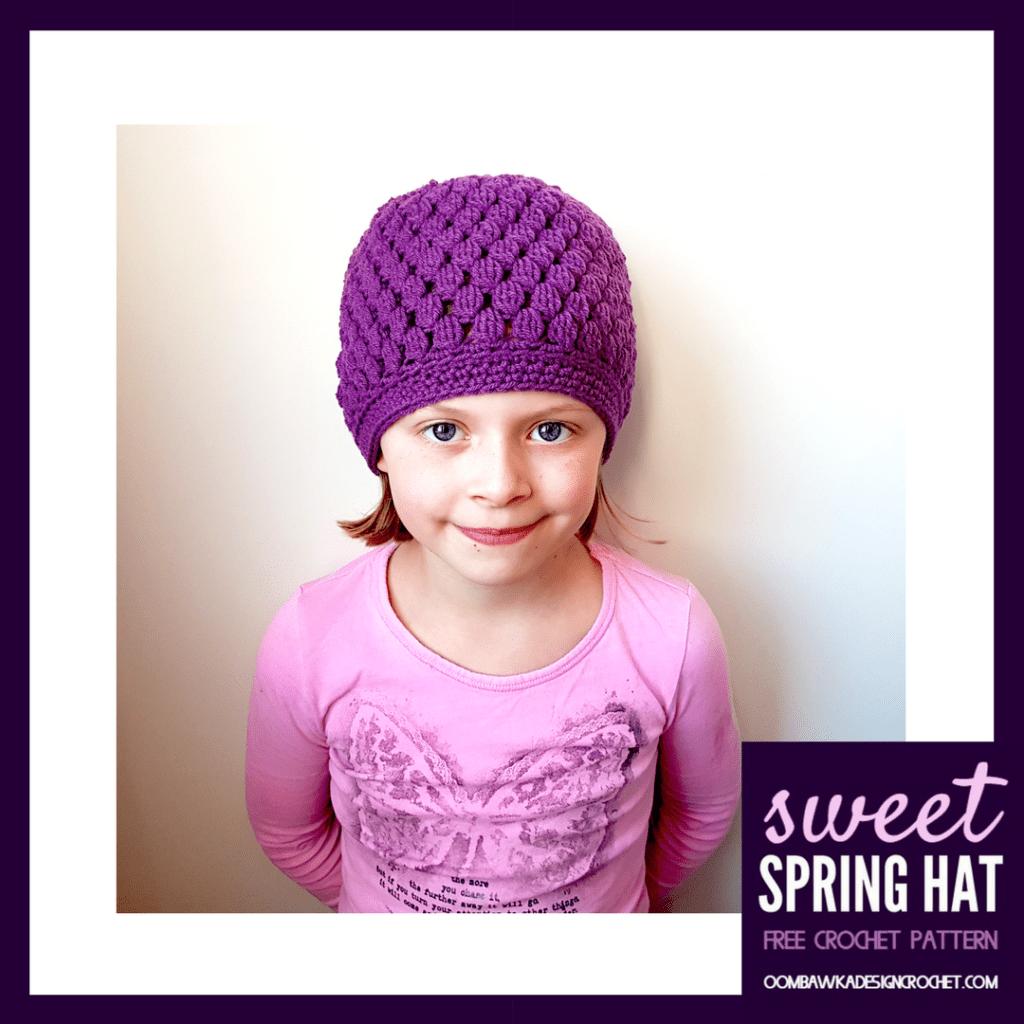 Sweet Spring Hat Free Pattern Oombawka Design Crochet Sizes Preemie to Adult Large