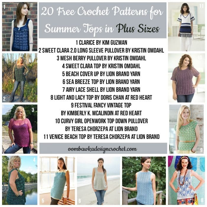 20 Free Crochet Patterns for Summer Tops in Plus Sizes This week on Free Pattern Friday we have 20 free crochet patterns for Summer Tops with Plus Size Options! Each of these designs includes measurements so you can see if your size is available before you visit the pattern.