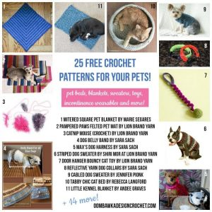 25 Free Crochet Patterns for Your Pets - Dogs and Cats and Charity Donation Projects. Oombawka Design Crochet.