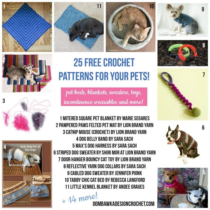 25 Free Crochet Patterns for Your Pets - Dogs and Cats and Charity Donation Projects