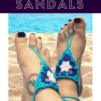 Beach Day Barefoot Sandals. Oombawka Design Crochet.