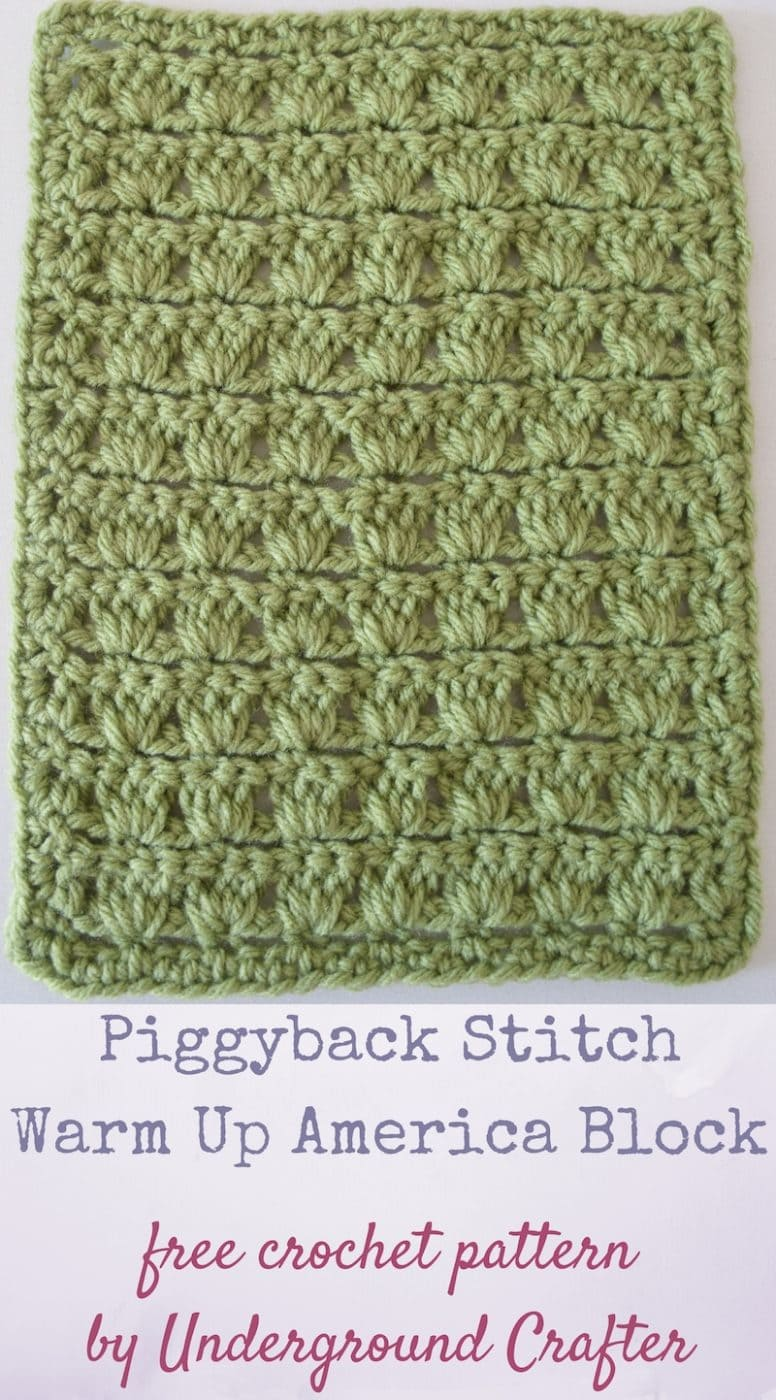Featured Charity of the Month - April 2017 Crochet And Donate - Warm Up America This month our Featured Charity, Warm Up America, is being presented by Marie from Underground Crafter.  Please read more about this organization, find out how you can help and make the Piggyback Stitch Afghan Block to donate today!