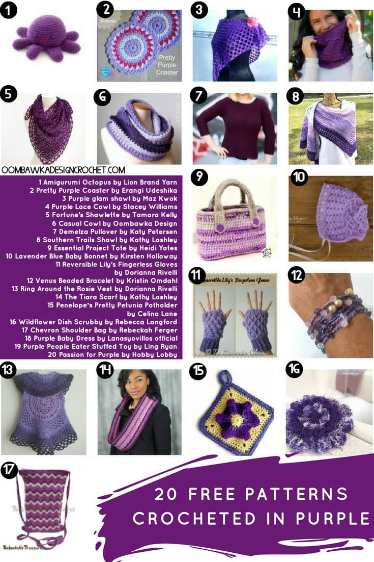20 FREE PATTERNS CROCHETED IN PURPLE