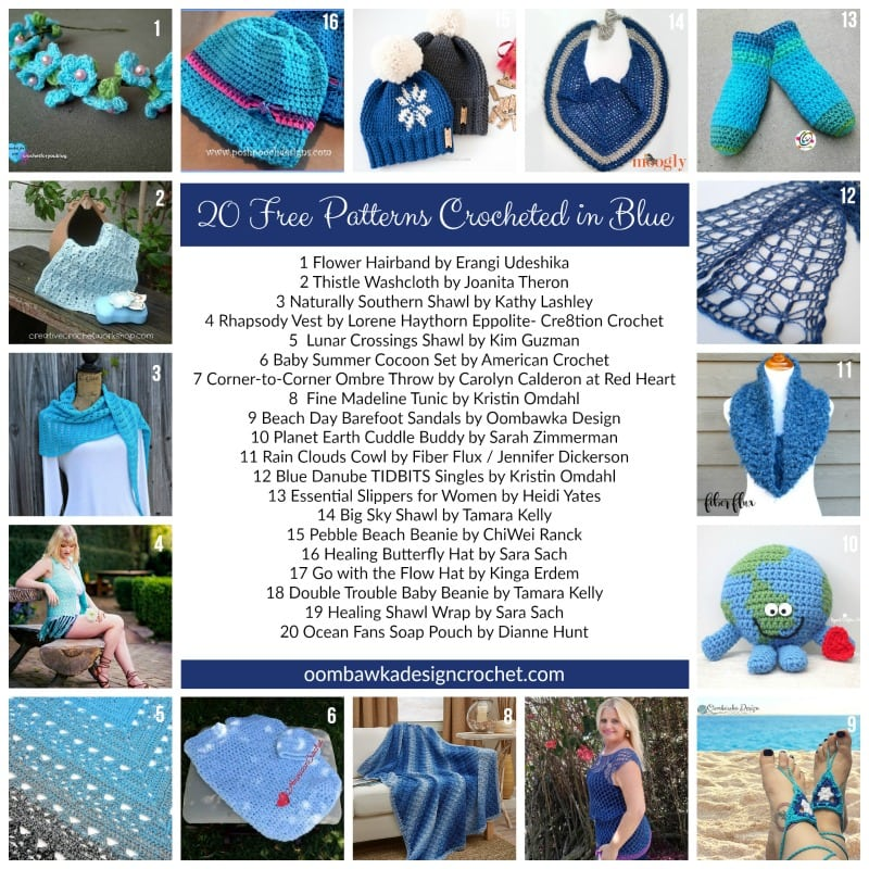 This week on Free Pattern Friday I have gathered 20 Free Patterns Crocheted in Blue! From hats, to shawls and wraps - a little bit of everything!  A few years ago I did a series of roundups dedicated to different colors and they were a hit! Let's see what we can find this year!