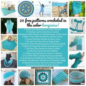 20 Free Patterns Crocheted in the Color Turquoise