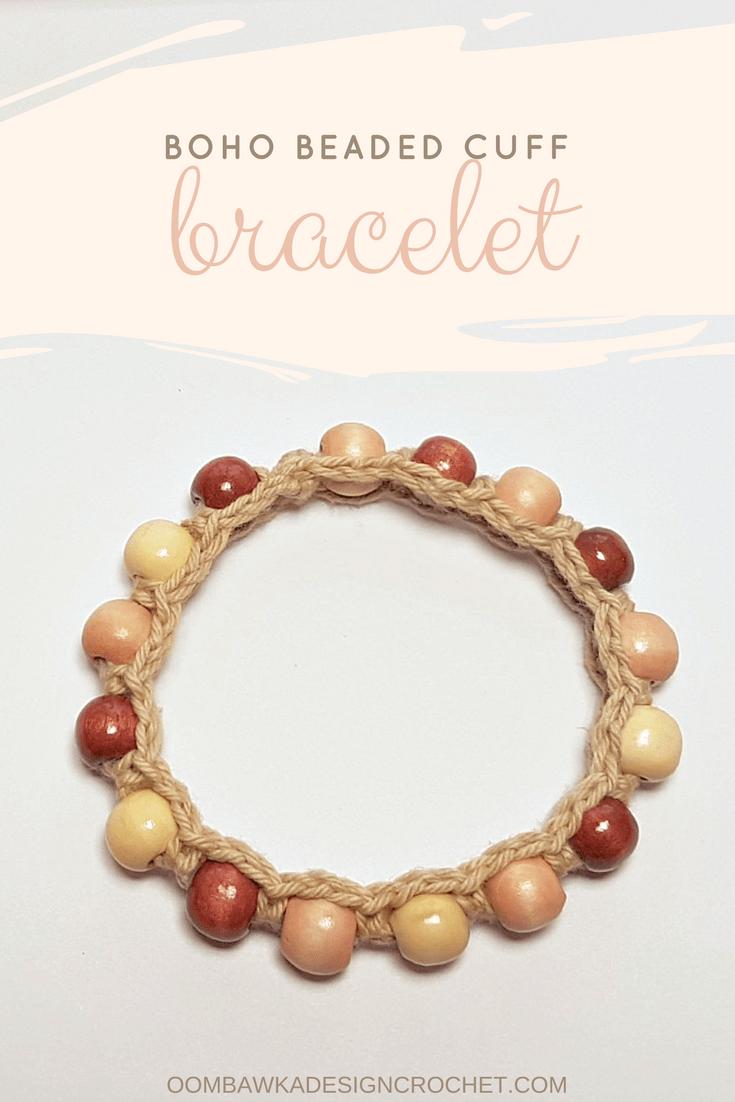 Beaded Boho Cuff Bracelet Pattern • Oombawka Design Crochet