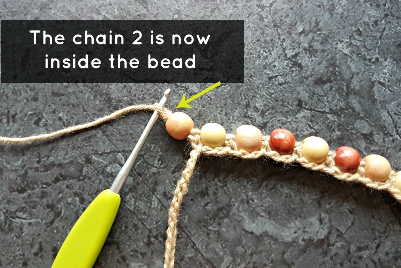 Chain 2 inside the bead. Boho Beaded Cuff Bracelet Tutorial. Oombawka Design Crochet.