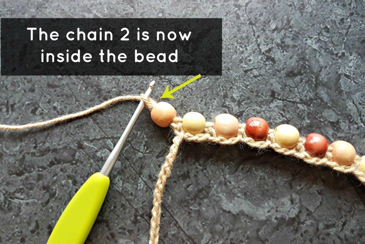 Chain 2 inside the bead. Boho Beaded Cuff Bracelet Tutorial. Oombawka Design Crochet.