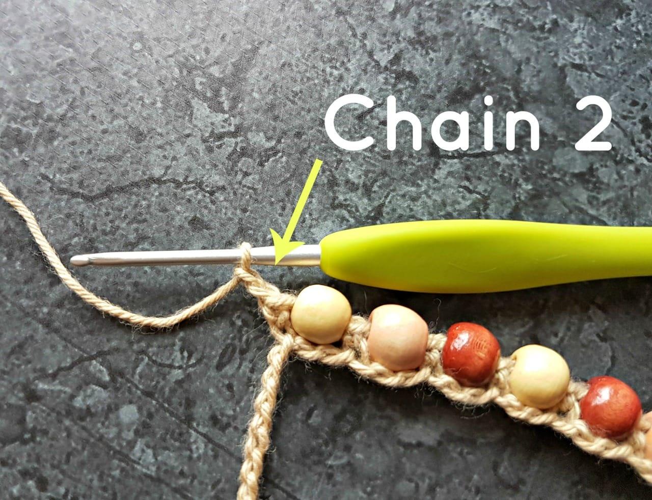 Chain 2. Boho Beaded Cuff Bracelet Tutorial. Oombawka Design Crochet.