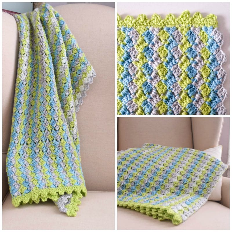 Crosshatch Stitch Baby Blanket free crochet pattern with video tutorial by Underground Crafter square collage